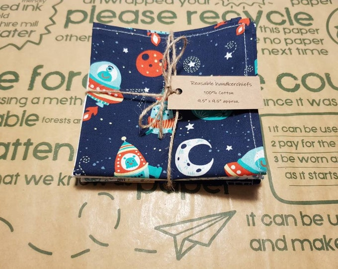 Reusable Handkerchiefs, Hankies, Napkins - Boys print - 100% Cotton, Eco friendly, Zero waste, Plastic free