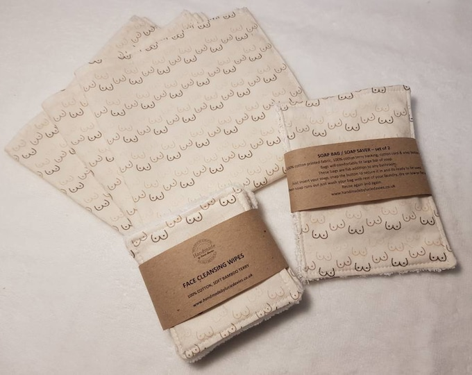 Limited Boobies Print - Handkerchief, Face cleansing wipes, Soap saver / Wash bag, Reusable, Zero waste