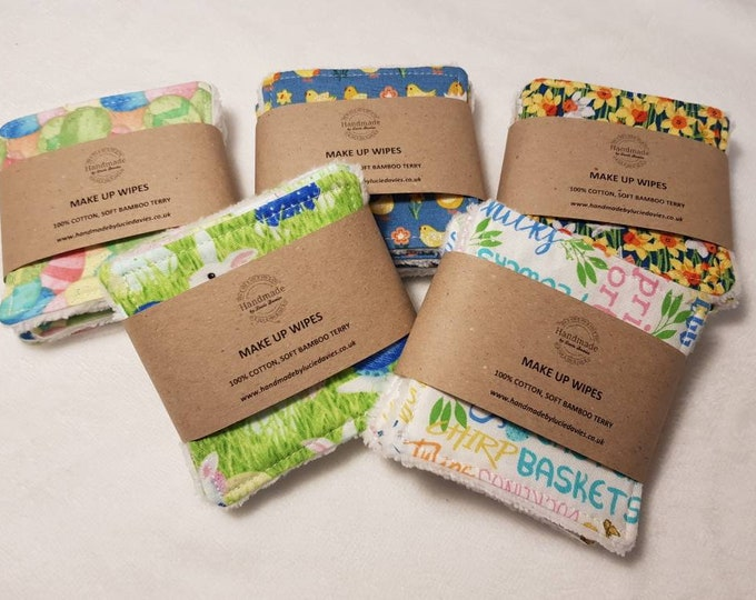 Easter/Spring print - 6 pack Handmade Re-usable Cotton Make up Remover Wipes with Super Soft Bamboo backing, Make up pads