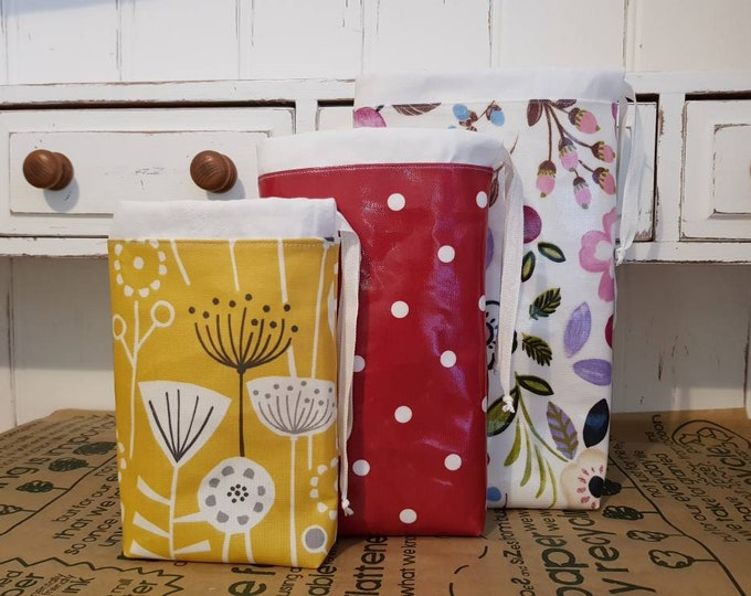 Oilcloth Produce bags - Small, Mediuim, Large - Hard wearing, Very sturdy, Dry food bags, Zero waste,  Eco friendly,  Market shopping bags