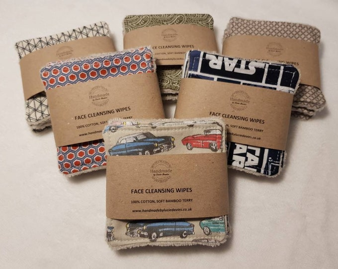 Male print - 6 pack Handmade Re-usable Cotton Face Cleansing Wipes with Super Soft Bamboo backing, Male care