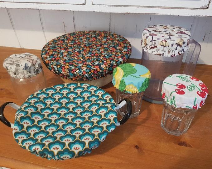 Made to order - 6 Reusable Double siced Cotton Bowl & Glasses/Jars covers- zero waste, 100% cotton, eco friendly, zero waste, plastic free