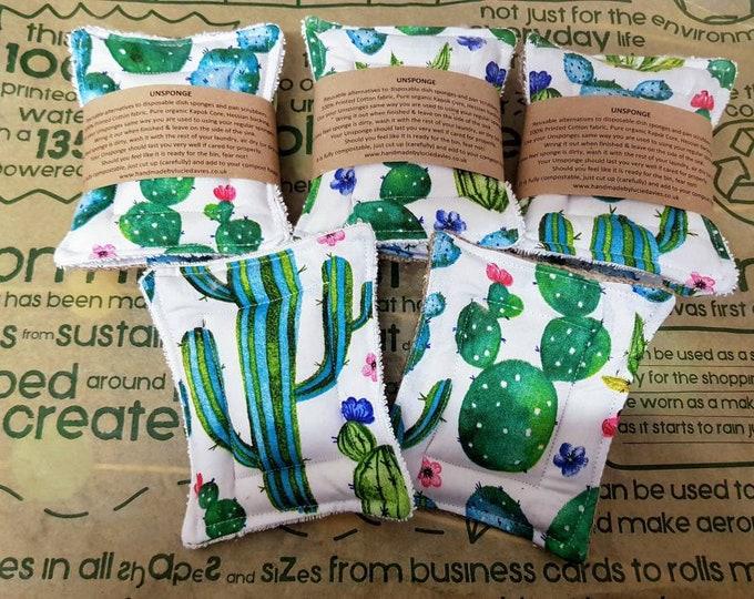 Limited edition- Cactus - UnSponge - 2 pack - zero waste reusable sponges, 100% cotton, eco friendly, zero waste, plastic free