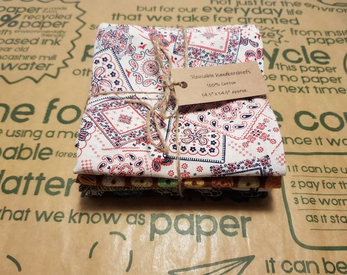 Reusable Handkerchiefs, Hankies, Napkins, Pocket square - Male, Men's print - 100% Cotton, Eco friendly, Zero waste, Plastic free