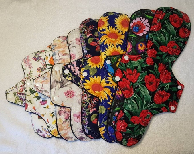 """7"""" - 14"""" Reusable Menstrual Pads wit 4 wing and flow options, Incontinence Pads, Reusable Sanitary Pad, Zero Waste, Ecofriendly"""