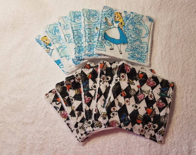 6 pack Handmade Re-usable Cotton Alice in Wonderland Make up Remover Wipes with Super Soft Bamboo backing, Make up pads