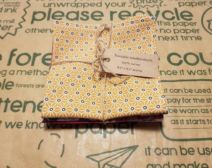 Reusable Handkerchiefs, Hankies, Napkins - Female print - 100% Cotton, Eco friendly, Zero waste, Plastic free