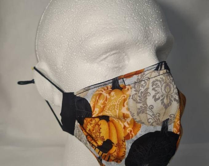 Halloween theme - Pumpkins - 2 Layer - Reversible - Reusable Face Mask - Washable