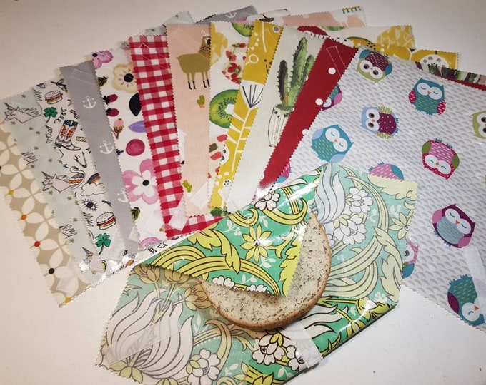 Zero waste Reusable Oilcloth Sandwich Wrap in 29 designs, Eco-friendly, Sustainable living