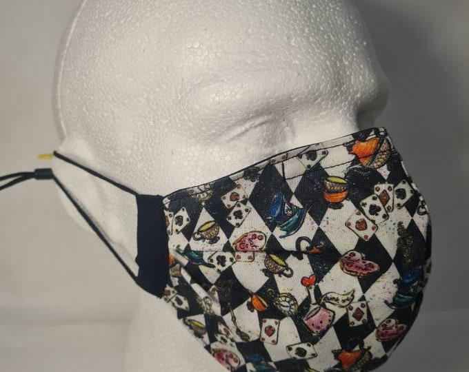 Alice in Wonderland - 2 Layer - Reversible - Reusable Face Mask - Washable