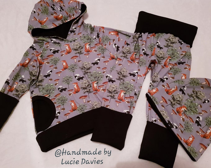 Made To Order - Boys, Girls, Unisex - 3 pcs Grow with meTracksuit (Hoodie, harem pants & slouch hat) - sizes from 3 months - 6 years