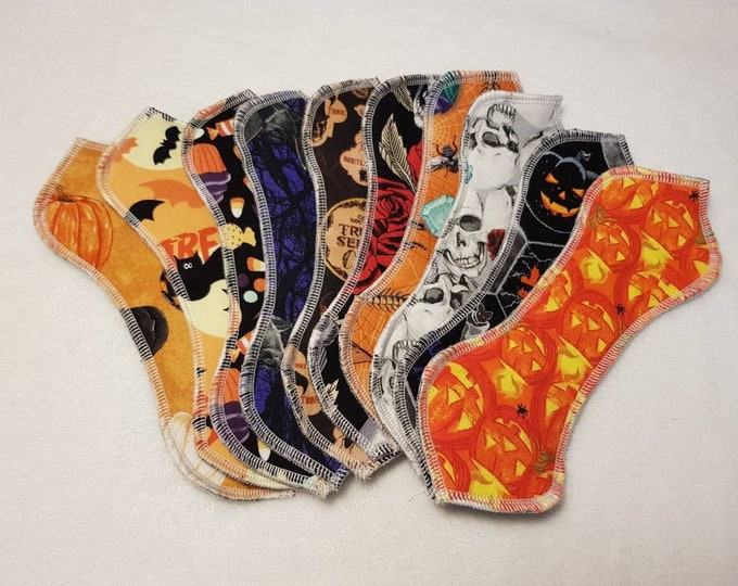 """8.5"""" Halloween Shaped Wingless Cloth Panty Liners & Pads, Reusable"""