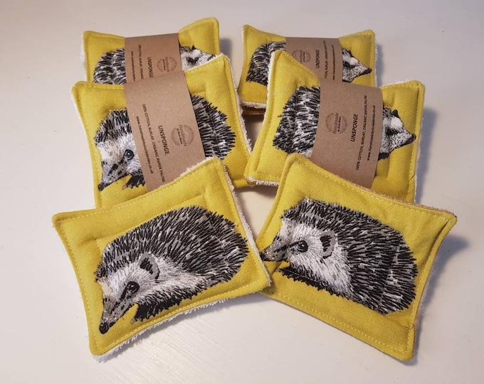 Limited edition- Hedgehog UnSponge - 2 pack - zero waste reusable sponges, 100% cotton, eco friendly, zero waste, plastic free