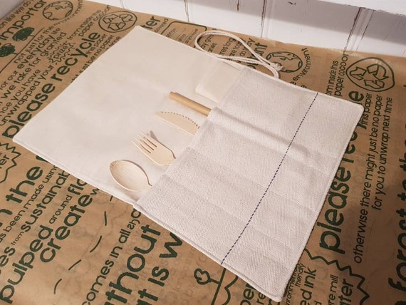 waste free cutlery pouch on bamboo   Pouch for cutlery made in cotton with little birds design  Waste free life