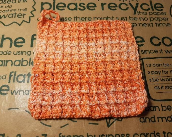 Ready to ship - Orange Reusable crochet Waffle 100% Cotton Dish cloth / Face cloth - zero waste, eco friendly, zero waste, plastic free