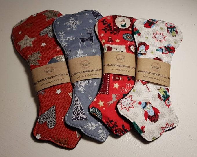 "10.5""-16.5"" Christmas Light, Medium, Heavy, Very heavy Reusable Menstrual Pads - MUFFIN TOP SHAPE - Sanitary Pad, Zero Waste, Ecofriendly"