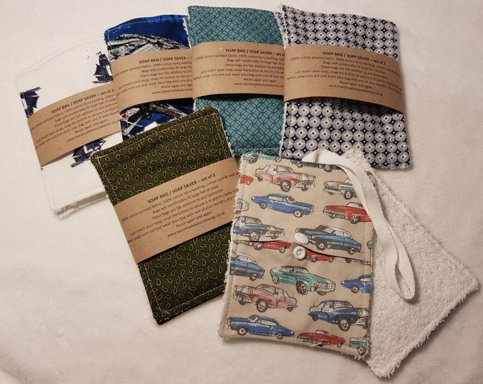 Male print - Soap holder, Soap bag, Soap saver - 2 pack - zero waste, reusable, 100% cotton, Eco friendly