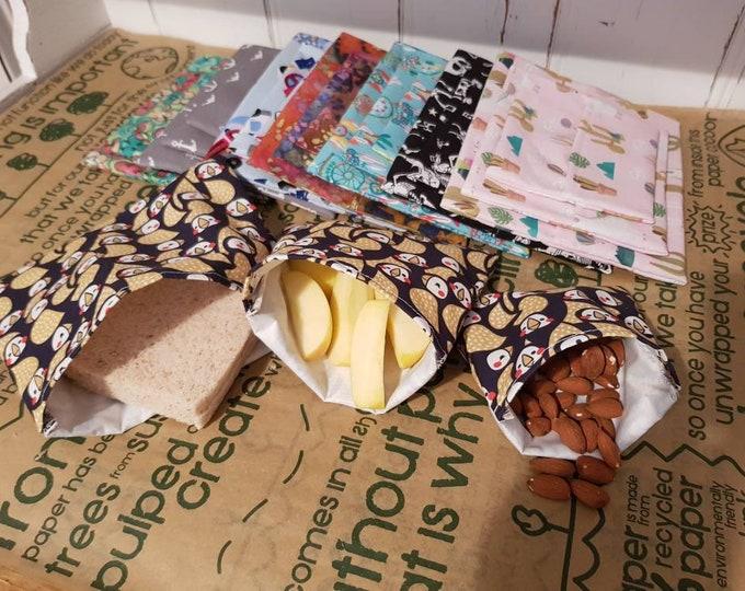 Reuseable Zero Waste Lunch Flip top Snack bag - Sandwich bag - Washable  - zero waste, reusable, 100% cotton, eco friendly, plastic free