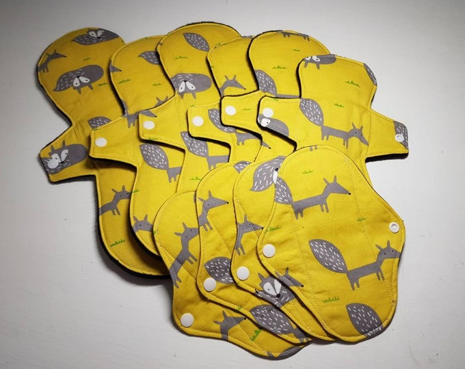 Small Starter Set - Reusable Menstrual Pads - Incontinence Pads - TEARDROP SHAPE - Reusable Sanitary Pad, Zero Waste, Ecofriendly