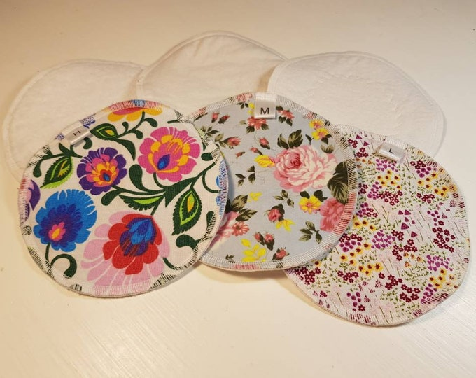 """Set of 2 - Re-usable  5.5"""" Breast pads - Low, Medium, High Absorbency, PUL waterproof layer,Optional Extra soaker ZORB layer,Zero Waste"""