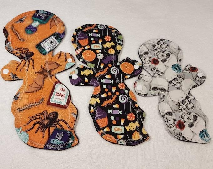 "10"", 12"", 14"" Halloween themed - Casper, Ghost -Reusable Menstrual Pads - Incontinence Pads, Zero Waste, Ecofriendly"