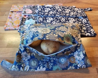 Reusable Microwave Baked potato bag - 100% cotton, eco friendly, zero waste, plastic free