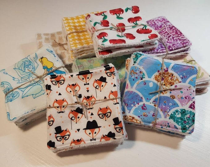 6 pack Handmade Re-usable Cotton Make up Remover Wipes with Super Soft Bamboo backing, Make up pads