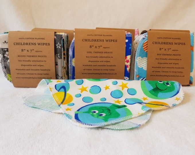 """100% brushed cotton - 8"""" x 7"""" Children's wipes - 10 pack - Eco friendly, Zero waste, Plastic free"""
