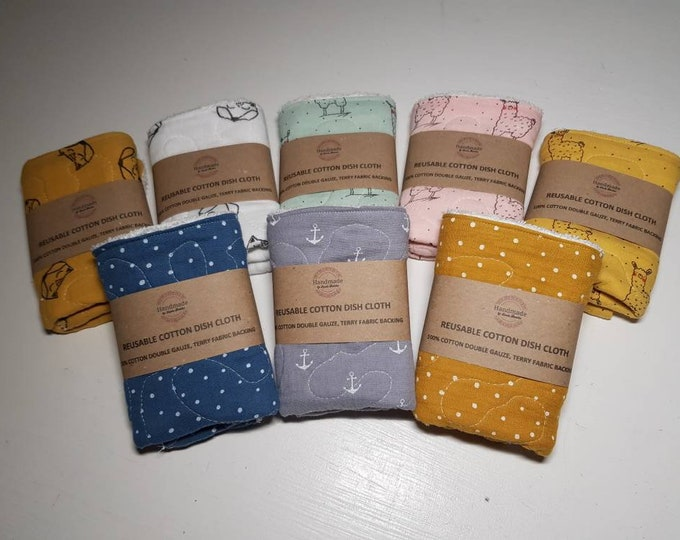 Reusable Cotton Quilted DISH CLOTH - zero waste reusable sponges, 100% cotton, eco friendly, zero waste, plastic free
