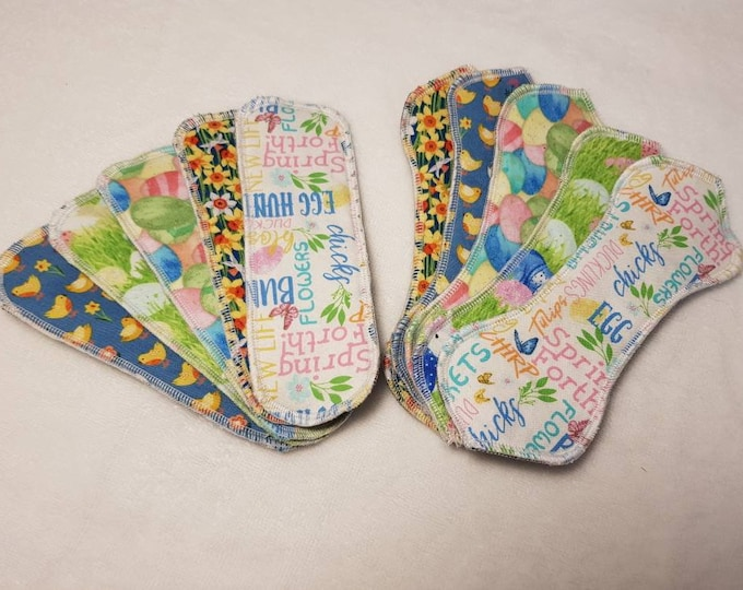 """Easter/Spring themed 7.5"""" Wingless Cloth Panty Liners & Pads, Reusable"""