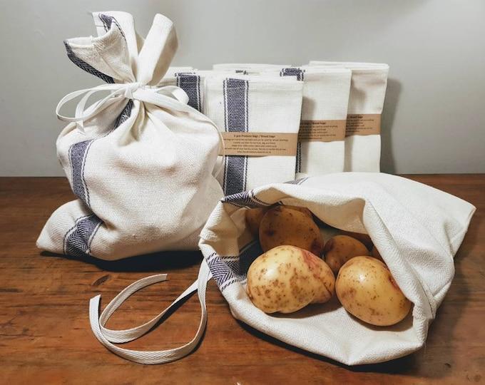 2 pack - 100% Cotton Reusable Produce bags / Bread bags - Vegetable, Fruit, Zero waste, Eco friendly, Market shopping bags