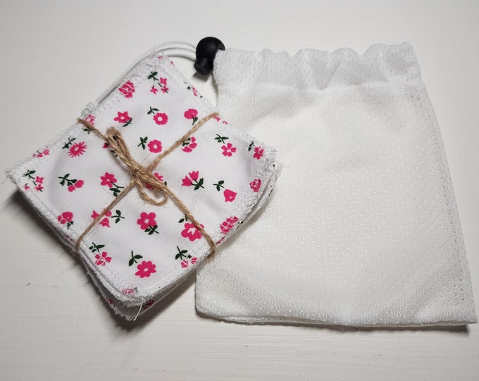 6 pack pink flowers handmade re-usable make up remover wipes & wash bag, bamboo cotton, terry fabric, brushed cotton