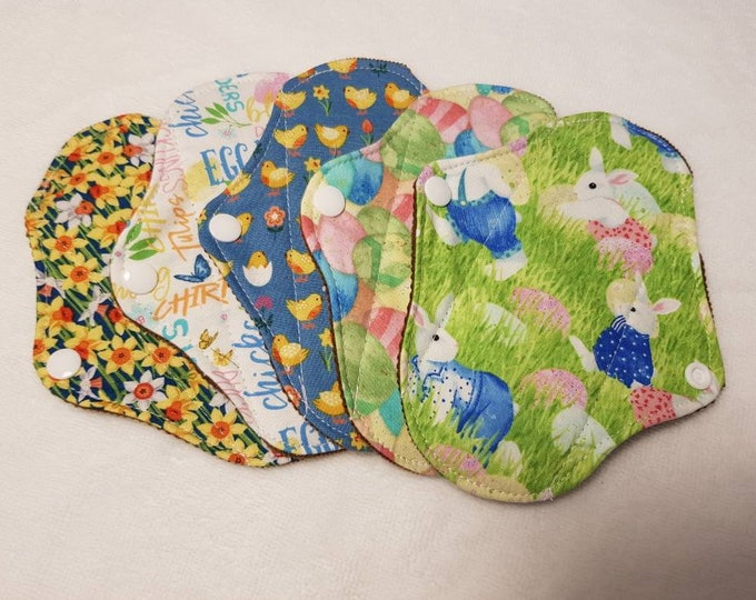 Easter/Spring themed Cloth Panty Liners- Large, Small - Reusable Sanitary Pad, Zero Waste, Ecofriendly