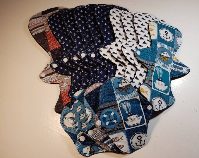 Large Starter Set - Reusable Menstrual Pads - Incontinence Pads - MUFFIN TOP SHAPE - Reusable Sanitary Pad, Zero Waste, Ecofriendly