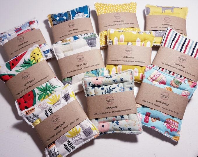 UnSponge - 2 pack - zero waste reusable sponges, 100% cotton, eco friendly, zero waste, plastic free