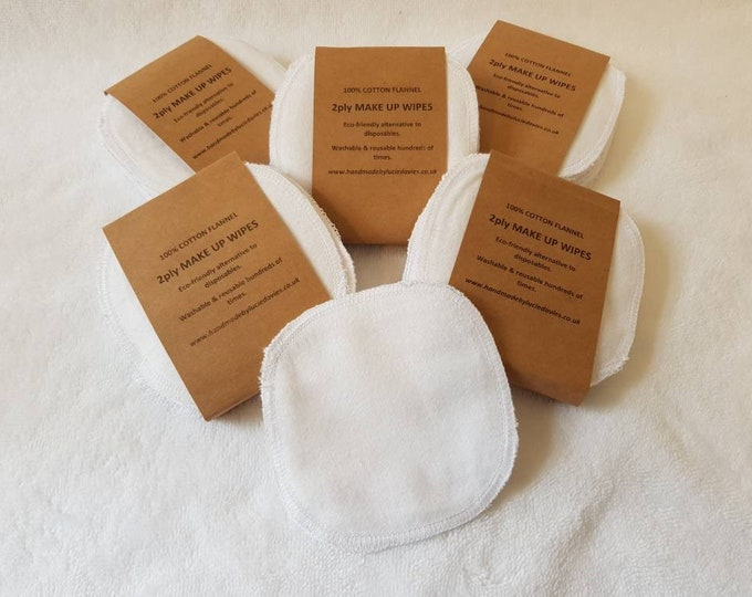 8 pack 2-ply Handmade Re-usable Brushed Cotton Make up Remover Wipes, Make up pads