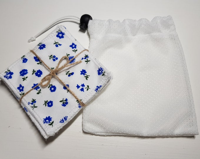 6 pack blue flowers handmade re-usable make up remover wipes & wash bag, bamboo cotton, terry fabric, brushed cotton