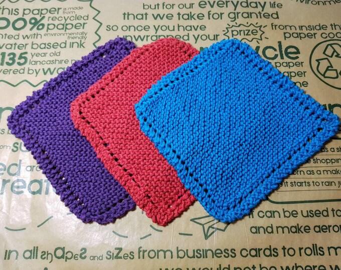 Reusable Knitted 100% Cotton Dish cloth / Face cloth - zero waste reusable sponges, eco friendly, zero waste, plastic free