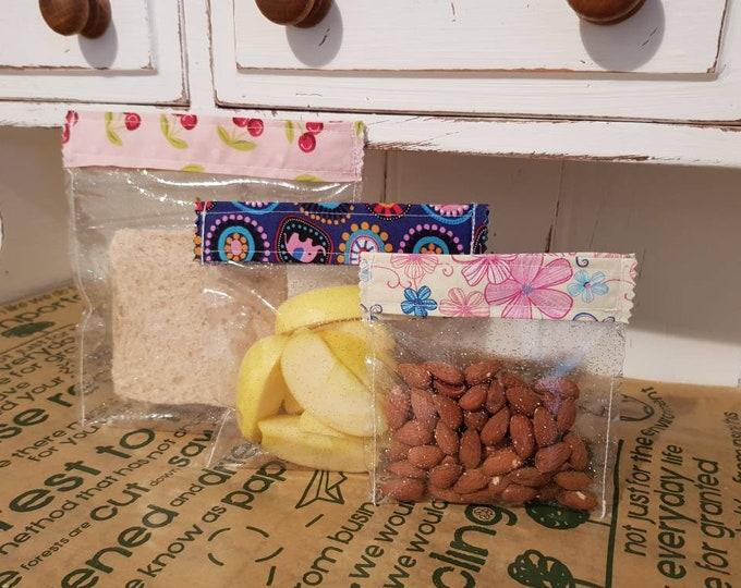 Reuseable Zero Waste Lunch Velcro top Snack bags - Sandwich bag - Washable  - zero waste, reusable, 100% cotton, eco friendly, plastic free