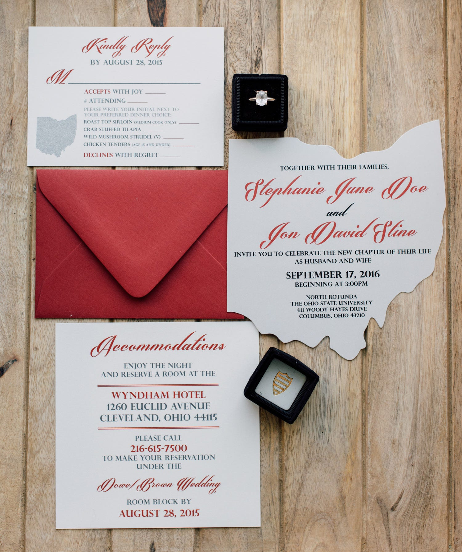Ohio Cutout Wedding Invitation Scarlet and Grey Wedding | Etsy
