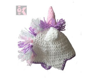 Fantasy Handmade Wooly Beanie Unicorn hat with a Wooly mane - Make your little girl love you