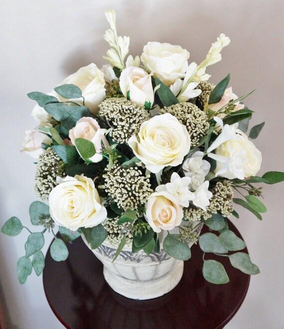 Flower Arrangement Home Decor Roses Cream And Blush Etsy