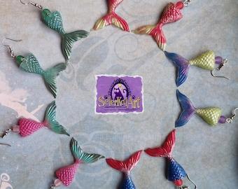 Colorful resin mermaid tail earrings