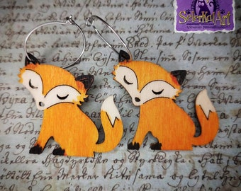 Autumn Wood Collection Fox Earrings.