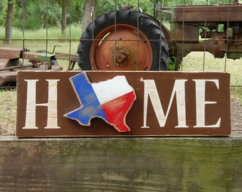 Rustic Texas Home Sign State Flag Lonestar Southern Decor Farmhouse