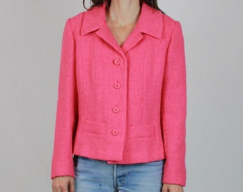 60s Pink Boucle Jacket Women Vintage