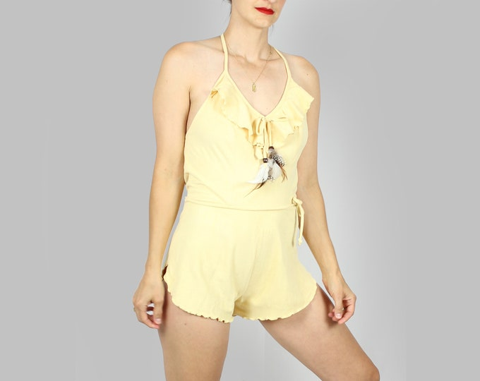 Fredericks of Hollywood Yellow Romper Shorts Small