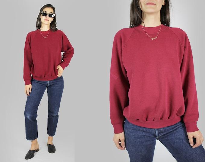 Plain Maroon Raglan Sweatshirt Vintage