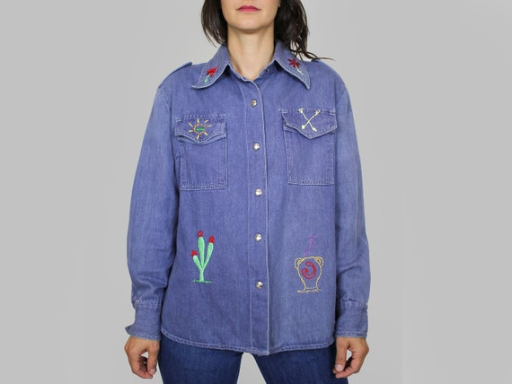 70s Embroidered Chambray Shirt Vintage