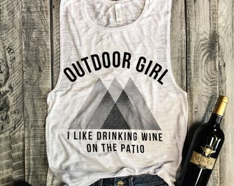 Outdoor Girl... Wine Lovers Muscle Tee in White Slub/Black Workout Top, Muscle Tank, Chandonnay, Cabernet,Merlot Tank,Workout Top,Gym Tank